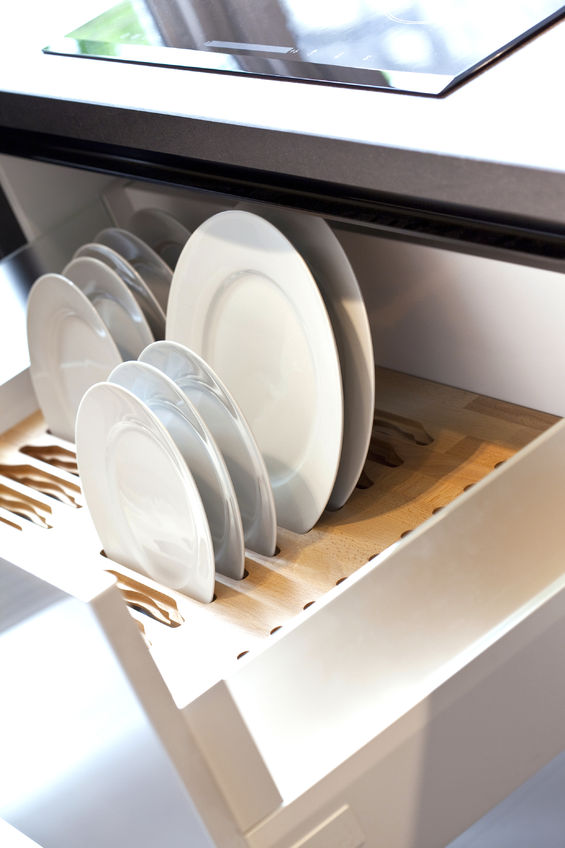 roll out shelving with plates